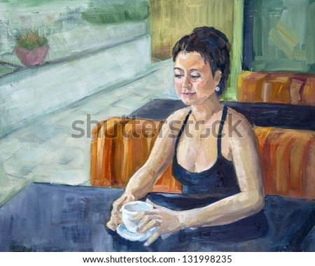 Oil Painting Girl with coffee