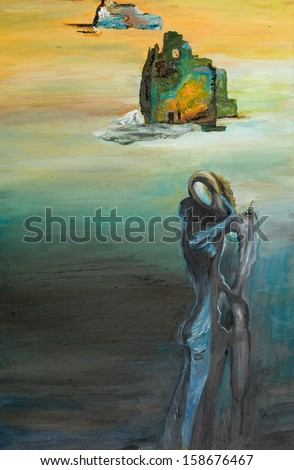 oil painting illustrating a surreal scene, two people embracing each other