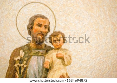oil painting illustration of statues of Saint Joseph and Holy Child Jesus Photo stock ©