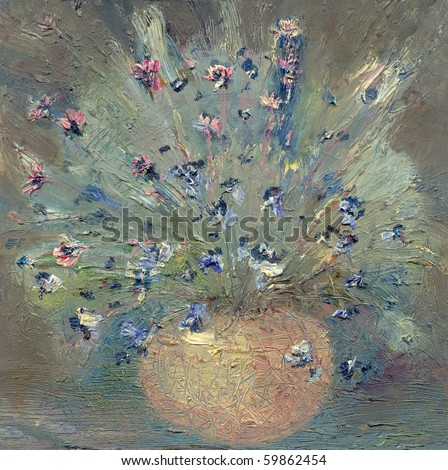 Oil painting. Impressionist painting a vase with delicate wildflowers