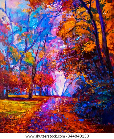 Stock Photo Oil painting landscape - colorful autumn trees -Modern impressionism