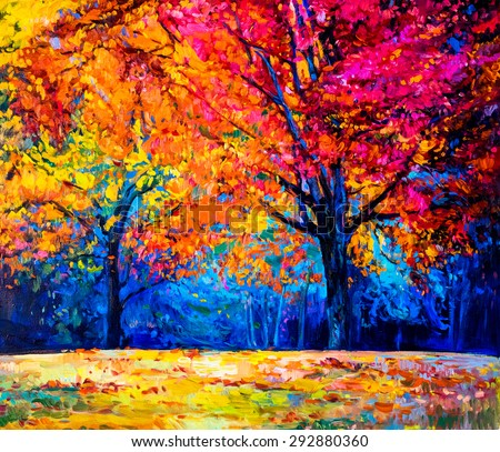 Stock Photo Oil painting landscape - colorful autumn trees -Modern impressionism by Nikolov