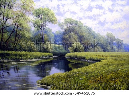 Oil painting landscape , colorful summer forest, beautiful river