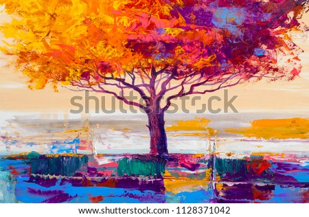 Oil painting landscape, colorful  tree.  Hand Painted Impressionist, outdoor landscape.