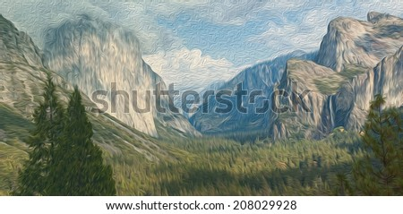Oil painting  Landscape from America California Yosemite national park, el capitan mountain, panoramic scenic beautiful epic landscape of Yosemite national park.
