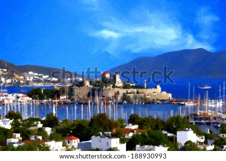 Oil painting landscape of beautiful tourism city Bodrum