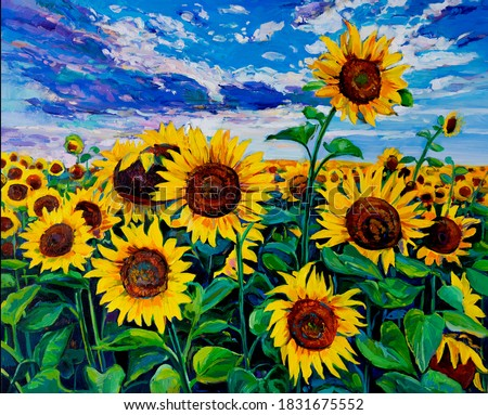 Oil Painting. Landscape with sunflowers. Modern art