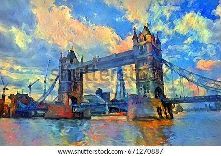 oil painting london tower bridge