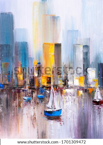 Oil Painting - Manhattan Bay, New York