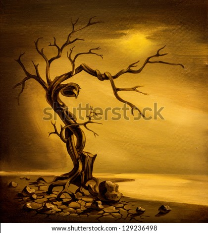 Oil painting of dead tree on cracked ground on canvas