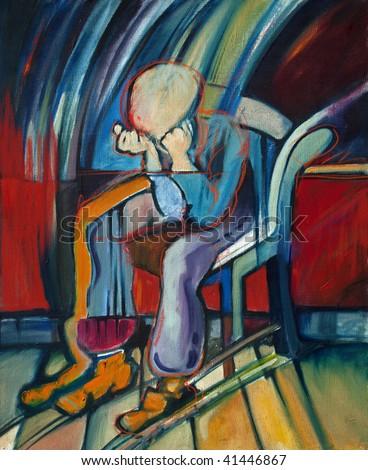 Oil Painting of depressed man based on a Van Gogh\'s painting