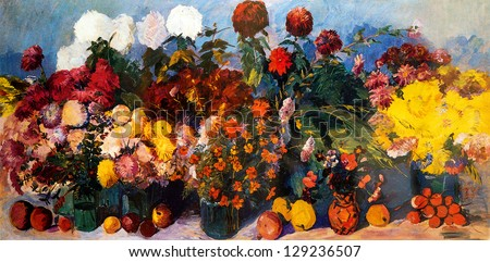 Oil painting of flowers and fruits on canvas