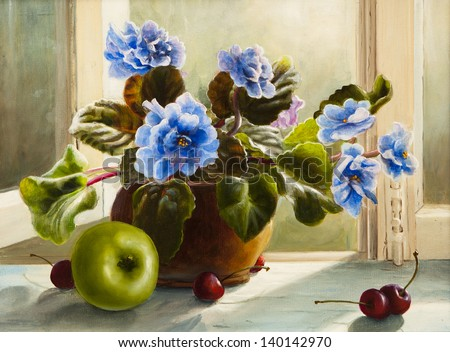 oil painting of flowers violet, still life beautiful