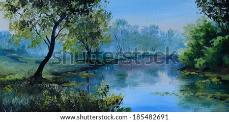 Stock Photo Oil Painting of forest landscape - pond in the forest. Abstract drawing