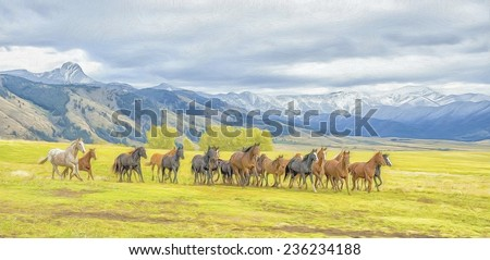 Oil painting of horse stampede