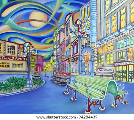 Oil painting of Seattle downtown Modern city Colorful original design Pioneer square