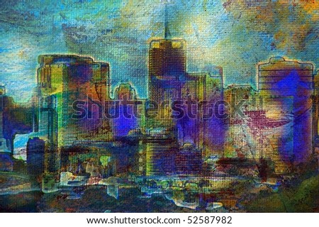 Oil painting of unrecognisable city buildings and landscape