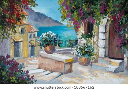 oil painting on canvas - beautiful houses and stairs near the sea, abstract drawing