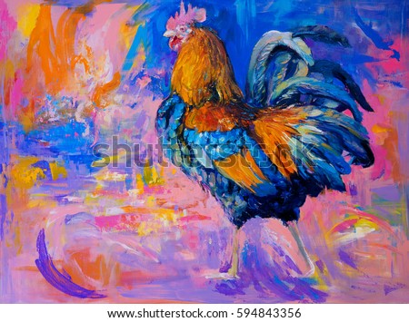 oil painting on canvas-colorful rooster-modern impressionism
