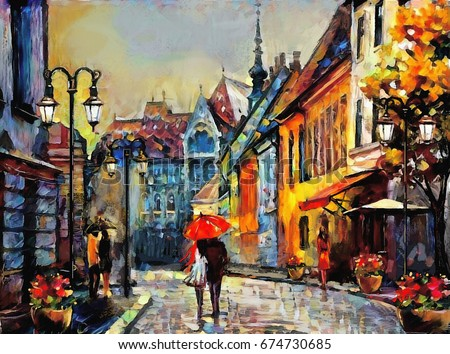 oil painting on canvas european city. Hungary. street view of Budapest. Artwork. people under a red umbrella. Tree.
