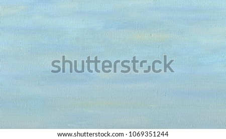Oil Painting on canvas. Spring overcast sky. Pale blue color,