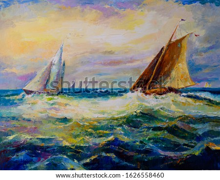 Oil painting on canvas. Stormy water. Modern Artwork