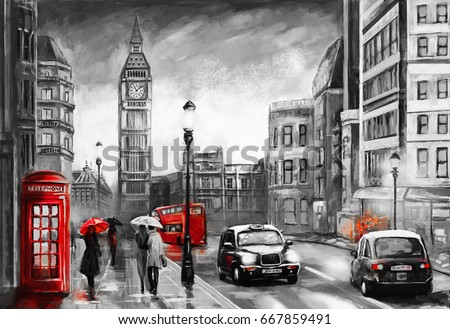 Stock Photo oil painting on canvas, street view of london. Artwork. Big ben. couple and red umbrella, bus and road, telephone. Black car - taxi. England