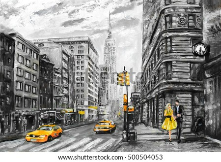 Stock Photo oil painting on canvas, street view of New York, man and woman, yellow taxi,  modern Artwork, New York in gray and yellow colors, American city, illustration New York