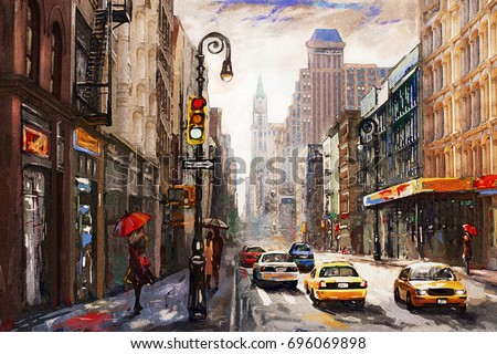 oil painting on canvas, street view of New York,  woman under an red umbrella, yellow taxi,  modern Artwork,  American city, illustration New York
