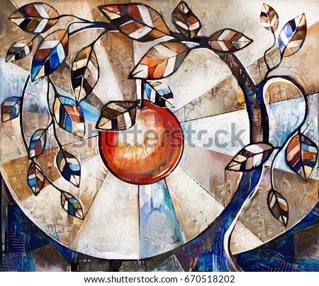 oil painting on canvas, stylized tree and apple. Modern Artwork.  interior illustration. Abstract background