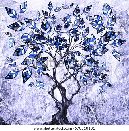 oil painting on canvas, stylized tree. Modern Artwork.  interior illustration. Abstract background. blue color
