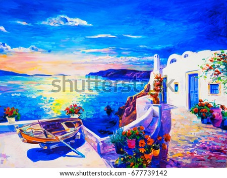 Oil painting on canvas. White houses with boat. Seascape painting. Modern art