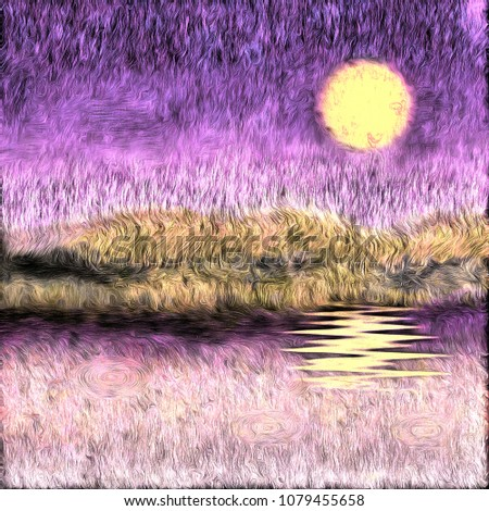Oil painting. Purple sunset. 3D rendering
