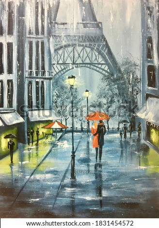 Oil painting rain in paris. snow in winter in Paris. Monochrome picture of couple with an umbrella. Artistic painting of eiffel tower on canvas. hobby drawing. Painting canvas handmade.