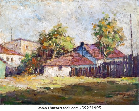Oil painting representing country landscape with houses and trees.