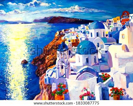 Oil painting. Santorini painting. Modern art.