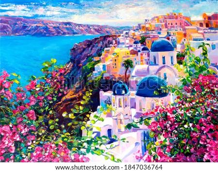 Oil painting. Santorini seascape. Wall Decor.