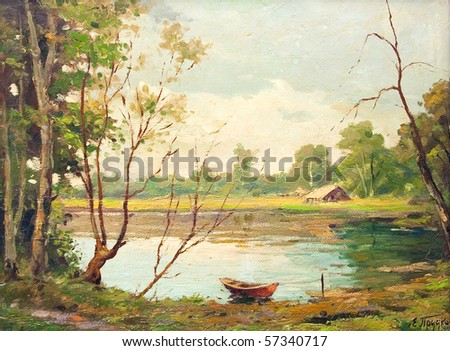 Oil painting showing beautiful forest landscape, with boat, lake and a little house.