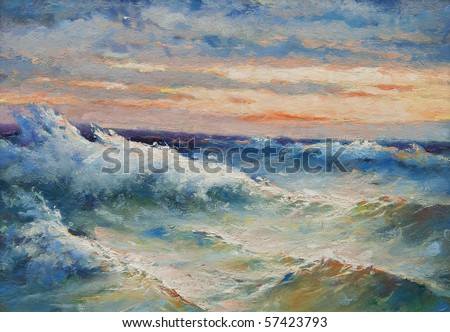 Oil painting showing huge sea waves during the storm.