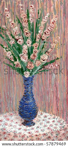 Oil painting. Still life with bouquet of delicate flowers in a blue vase