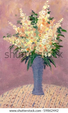 Oil painting. Still life with bouquet of lush flowers in a blue vase - stock photo