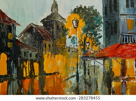 Oil painting - Street in rainy weather, abstract art, impressionism