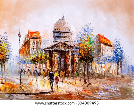 Oil Painting - Street View of Paris