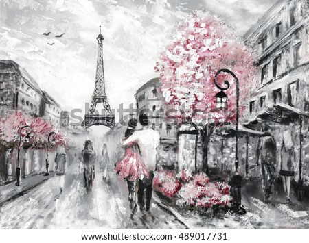 Oil Painting, Street View of Paris. european city landscape