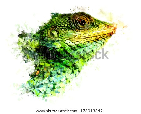 Oil Painting Style - Green head of a haughty reptile with a large mouth