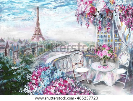 Oil Painting, summer cafe in Paris. gentle city landscape. View from above