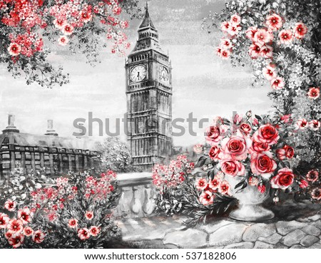 Oil Painting, summer in London. gentle city landscape. flower rose and leaf. View from above balcony. Big Ben, England, wallpaper. watercolor modern art. Red. black and white