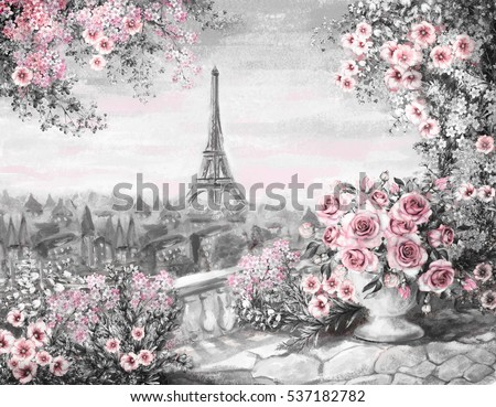 Oil Painting, summer in Paris. gentle city landscape. flower rose and leaf. View from above balcony. Eiffel tower, France, wallpaper. watercolor modern art. Gray and pink