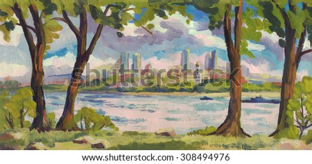 Oil painting. Summer landscape. Trees on the river Bank. Panorama city