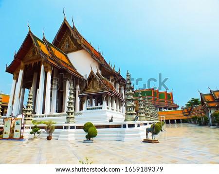 Oil painting : Wat Suthat Thepwararam in Bangkok, Thailand.